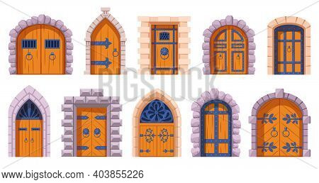 Castle Medieval Doors. Cartoon Ancient Fortress Wooden Gates, Medieval Kingdom Castles Gate Vector I