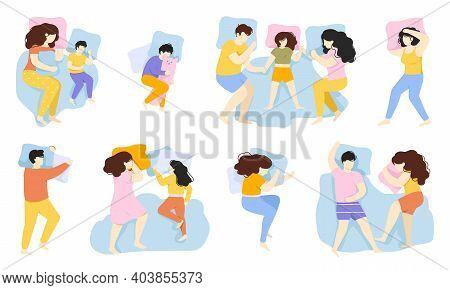 Sleeping People. Man, Woman And Child Sleep Pose, Male And Female Characters Healthy Night Sleep In