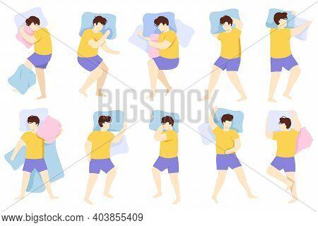 Man Sleeping Position. Adult Male Character Healthy Night Sleep Pose, Person Sleeping In Bed. Sleep