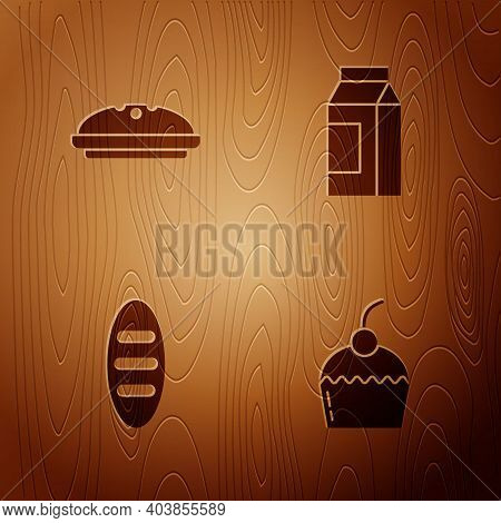 Set Cake, Homemade Pie, Bread Loaf And Paper Package For Milk On Wooden Background. Vector