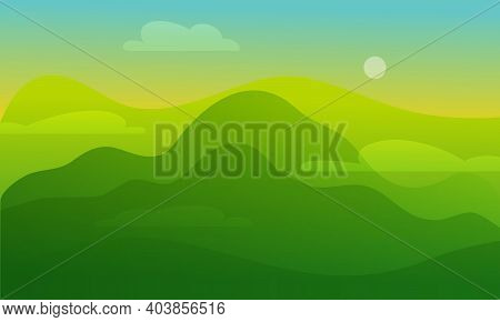 Sunrise And Green Hills. Valley Landscape Flat Style Illustration. Futuristic Gradient Glowing Hills