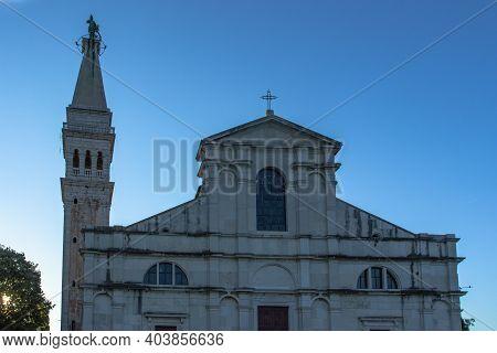 Rovinj, Croatia-august 16, 2020. West Front Facade Of The Church Of St. Euphemia. Baroque Church Loc