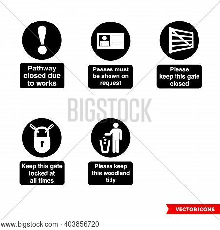 Forestry Safety Mandatory Sings Icon Set Of Black And White Types. Isolated Vector Sign Symbols. Ico