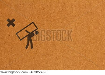 Packaging Symbol To Indicate Not To Carry The Package On Back Of A Person. Do Not Carry On Your Back