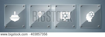 Set Orthodox Jewish Hat, Star Of David, Balloon With Star David And Hanukkah Dreidel. Square Glass P