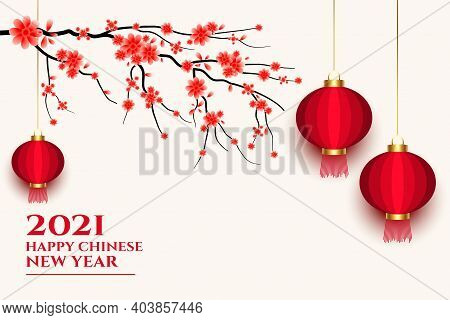 2021 Chinese Happy New Year Lantern And Sakura Flower Vector