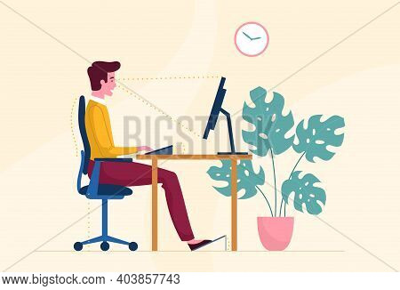 Correct Sitting Posture When Working On A Computer.. Ergonomic Concept, Right Position For Healthy B