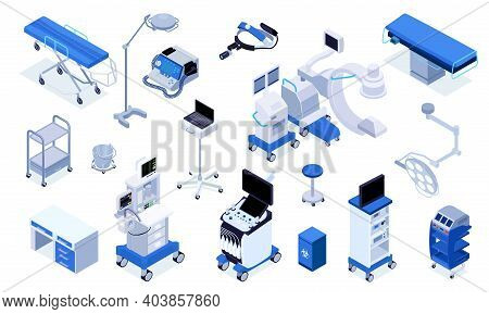 Medical Operating Room Equipment Furniture Devices Isometric Set With Patient Monitoring System Surg