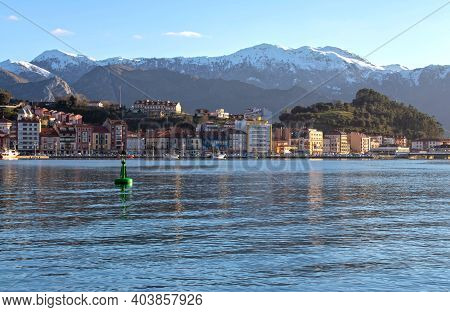 Ribadesella, Spain - January 13, 2021:  View Of The Town From The Paseo De La Grua, Ribadesella, Ast