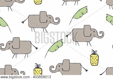 Seamless Pattern, Childish African Animals Illustration. Cute Elephant, Funny Elephant On White. Car