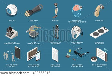 Set Of Isolated Technology For Disabled People Icons With Isolated Images Of Bionic Limbs And Microc