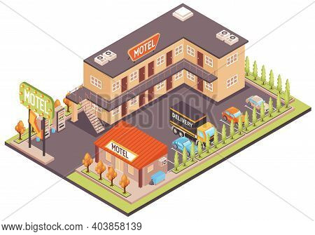 Motel Color Concept With Parking For Cars And Facilities Isometric Vector Illustration
