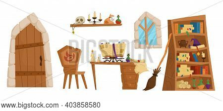 Magic School Concept. Classroom Interior With Open Spell Book And Paper Scroll, Burning Candles, Wit