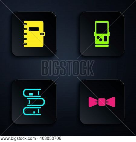 Set Bow Tie, Spiral Notebook, Book And Tetris. Black Square Button. Vector