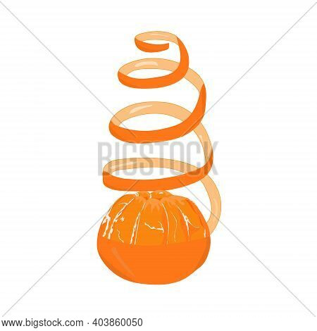 Orange Mandarin With A Half-peeling In The Form Of A Christmas Tree On A White Background. Hand Draw