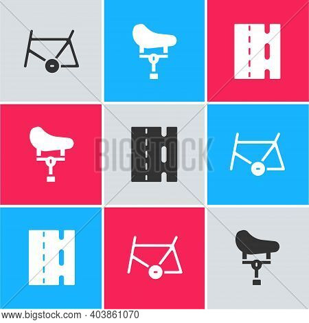 Set Bicycle Frame, Seat And Lane Icon. Vector
