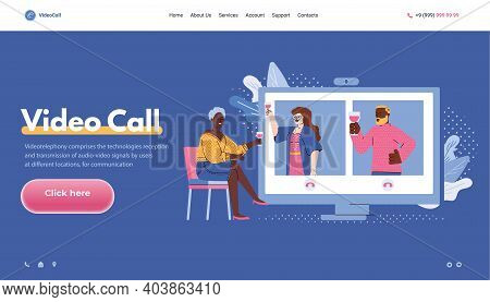 Video Call Banner Concept With People Socializing In Video Chat, Flat Cartoon Vector Illustration. O