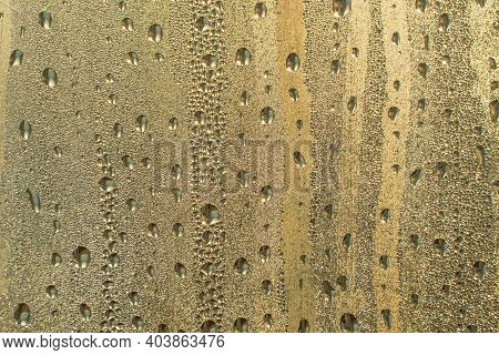 Abstract Background Ornament With Golden Water Drops.raindrops Are Golden In Color.sparkling Shiny W