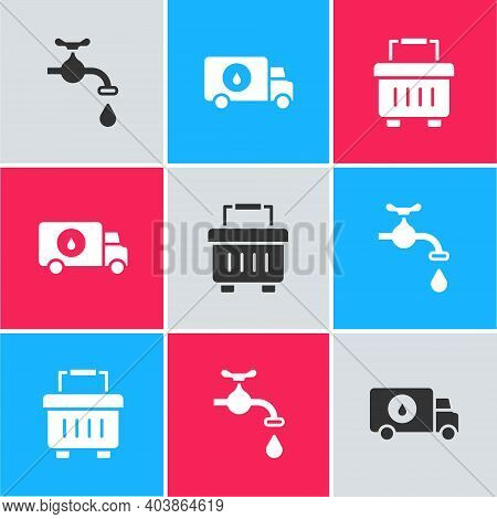 Set Water Tap, Plumber Service Car And Toolbox Icon. Vector