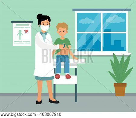 Pediatrician Care Clinic Cabinet Interior Design. Vector Illustration In Flat Cartoon Style. Composi