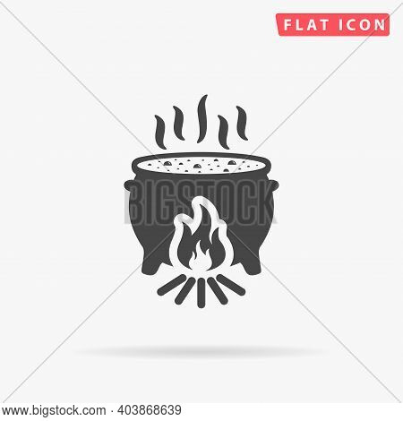 Witch Cauldron Flat Vector Icon. Hand Drawn Style Design Illustrations.