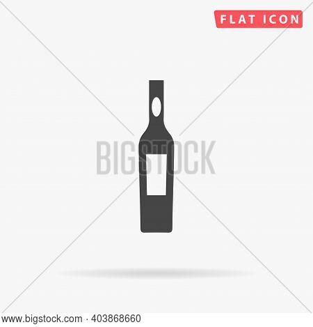 Bottle Of Vodka Flat Vector Icon. Hand Drawn Style Design Illustrations.