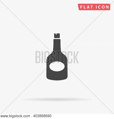 Bottle Of Rum Flat Vector Icon. Hand Drawn Style Design Illustrations.
