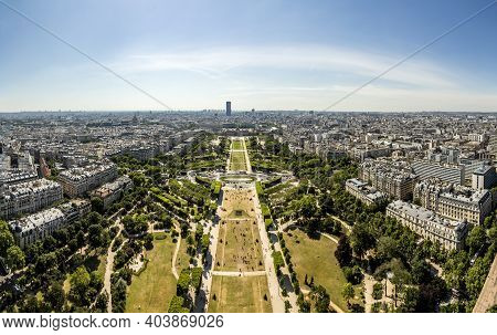 View From Eiffel Tower To Champ De Mars And Skyline Of Paris