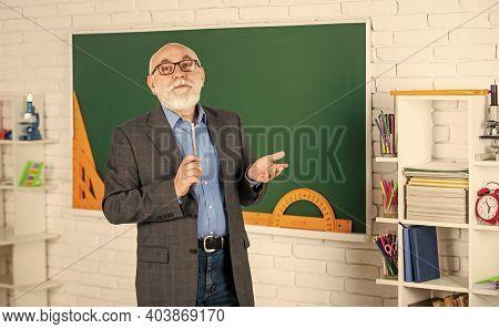 Back To School. Teacher Old School Generation. Experienced Lecturer. Mature Teacher Enjoying Job. Sh