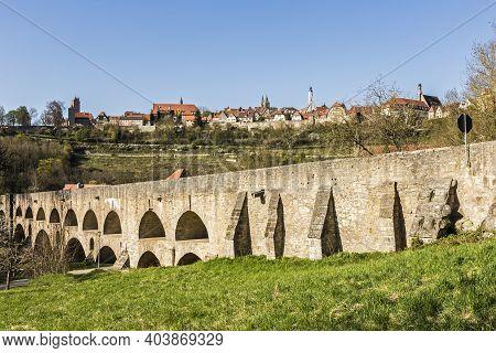 Old Tauber Bridge At Rothenburg Ob Der Tauber, Bavaria, Germany