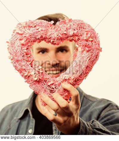 Romantic Macho. Hipster Hold Heart White Background. Man With Beard Celebrate Valentines Day. Love A
