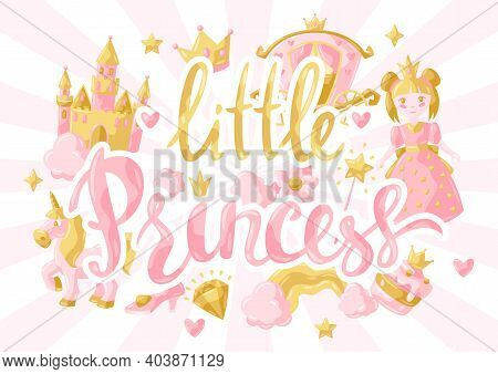 Princess Party Items Background. Fairy Kingdom And Magic World Illustration. Decoration For Children