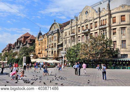 Timisoara, Romania - August 14, 2012: People Visit Timisoara, Romania. Romania Had 7.5 Million Forei