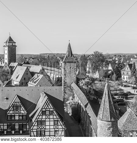 Famous City Wall Of Rothenburg Ob Der Tauber