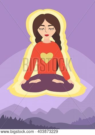 Girl In The Lotus Position On The Background Of Mountain Landscape. Woman In Meditation.