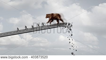 Bear Market Fear And Economic Panic Concept Trending Downwards As A Financial Loss Symbol And Bearis
