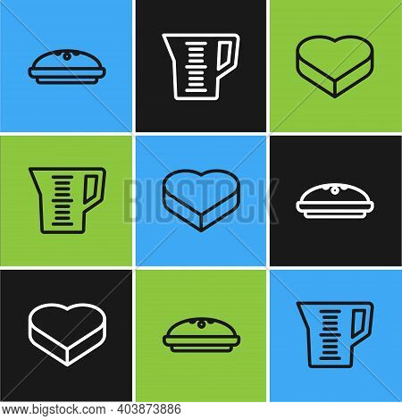 Set Line Homemade Pie, Candy In Heart Shaped Box And Measuring Cup Icon. Vector