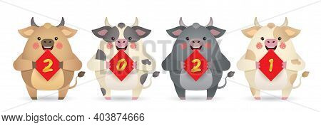2021 Year Of The Ox. Cute Cartoon Cows With Chinese Couplet Of 2021 Isolated On White Background. Ch