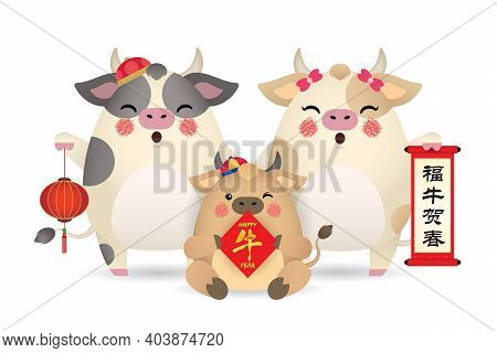 Cute Cartoon Cow Family Holding Chinese Scroll, Couplet And Lantern Isolated On White Background. 20