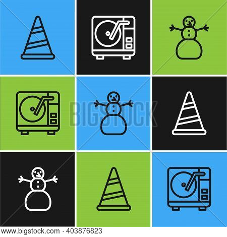 Set Line Party Hat, Christmas Snowman And Vinyl Player With Vinyl Disk Icon. Vector
