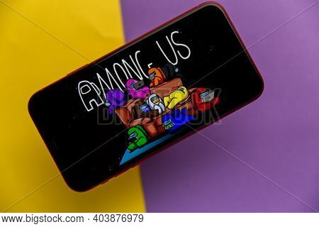 Tula, Russia - November 11, 2020: Among Us Logo On Iphone Display