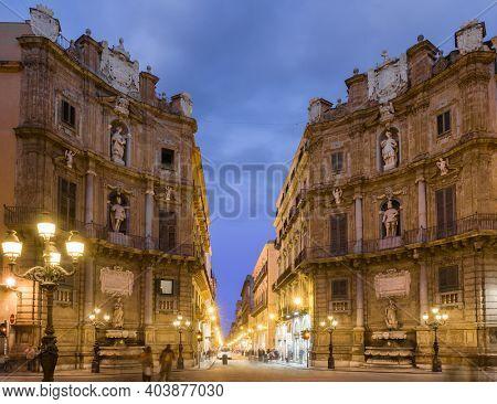 Quattro Canti, Piazza Vigliena at night, is a Baroque square in Palermo, Sicily, Italy