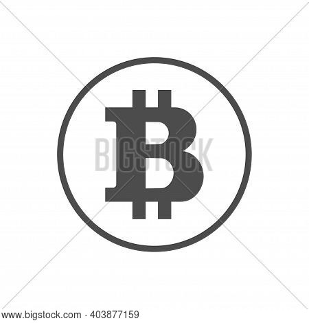Monochrome Bitcoin Icon. Blockchain Cryptocurrency Sign. Template For Web Or Mobile Apps. Money And