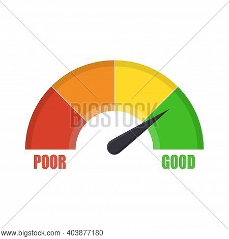 Credit Score Gauge Showing Good Value. Customer Satisfaction Meter. Score Indicator. Measuring Scale