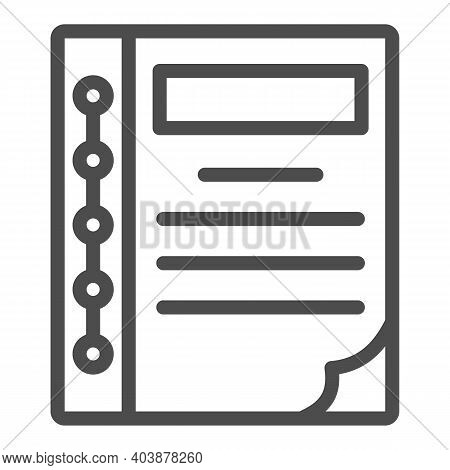 Bookkeeper Notebook Line Icon, Black Bookkeeping Concept, Accounting Book Sign On White Background,