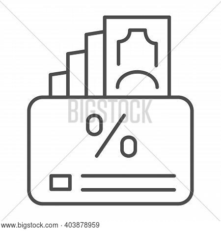 Cashback Interest, Card And Money Thin Line Icon, Shopping Concept, Cashback Service Sign On White B