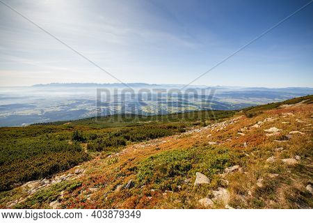View Of The Tatra Mountains From Babia Gora On A Sunny Summer Day