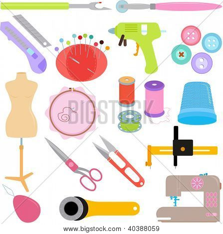 Vector of Sewing Tools and Handicraft accessories