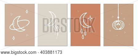 A Set Of Minimalistic Posters With Celestial Bodies. Posters In A Modern Boho Style. The Moon And Th