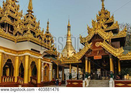 Yangon,myanmar - January 2020.the Shwedagon Pagoda Known As Golden Dagon Pagoda Is The Most Sacred B